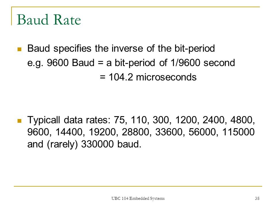 Baud Rate Baud specifies the inverse of the bit-period