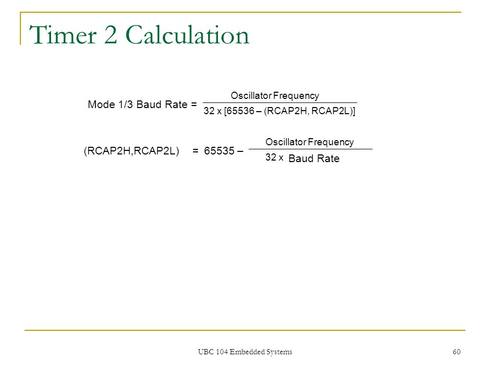 Timer 2 Calculation Mode 1/3 Baud Rate = (RCAP2H,RCAP2L) = 65535 –