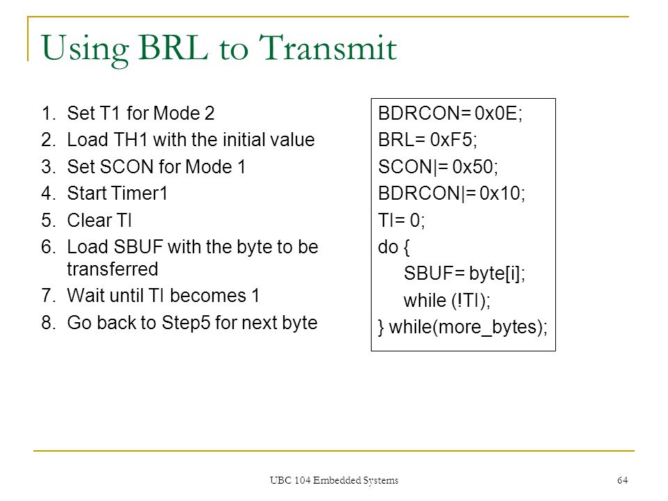 Using BRL to Transmit Set T1 for Mode 2
