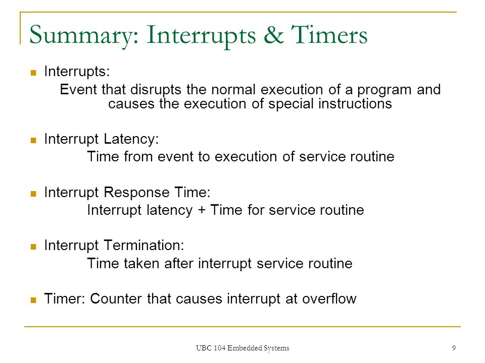 Summary: Interrupts & Timers
