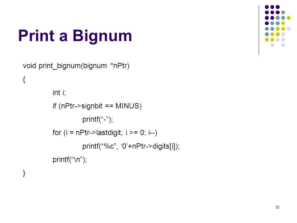 Print a Bignum void print_bignum(bignum *nPtr) { int i;