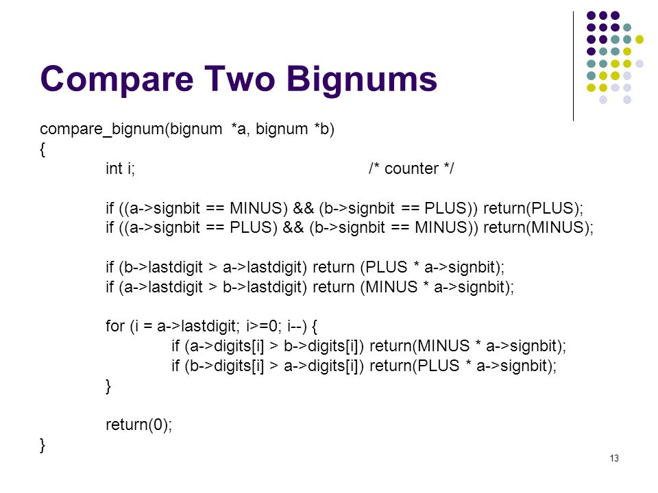 Compare Two Bignums compare_bignum(bignum *a, bignum *b) {