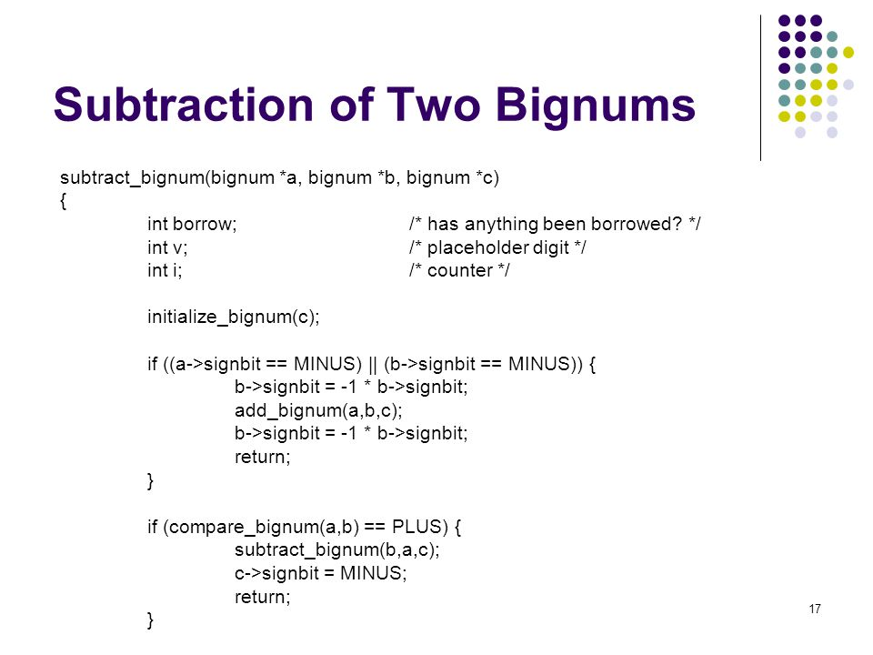 Subtraction of Two Bignums