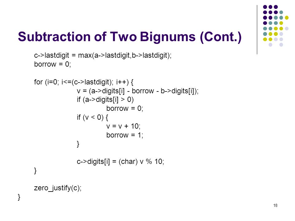 Subtraction of Two Bignums (Cont.)