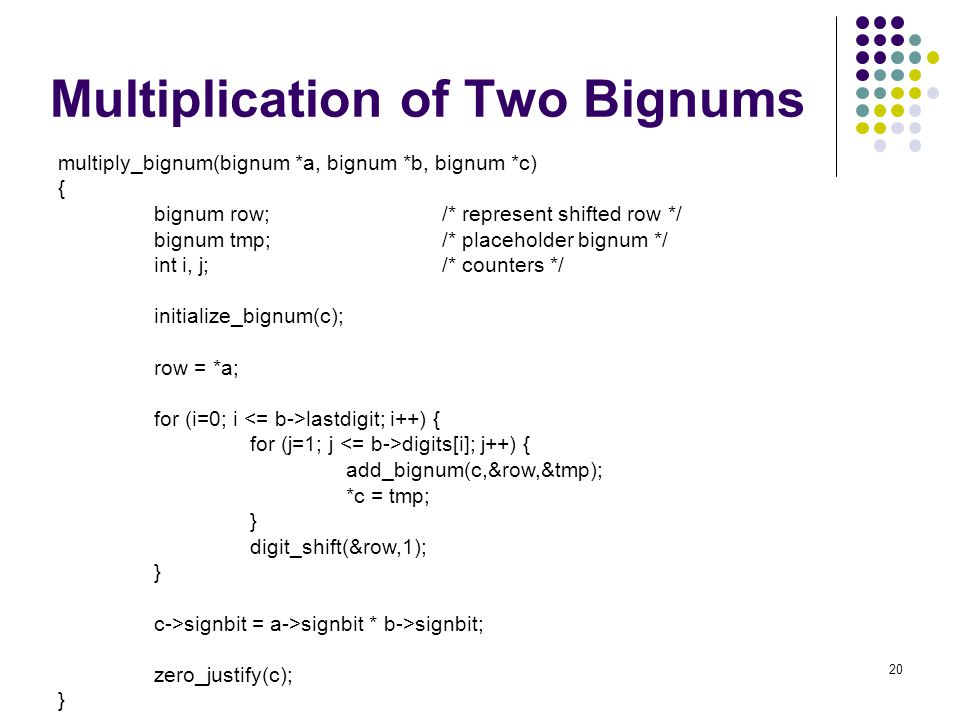 Multiplication of Two Bignums