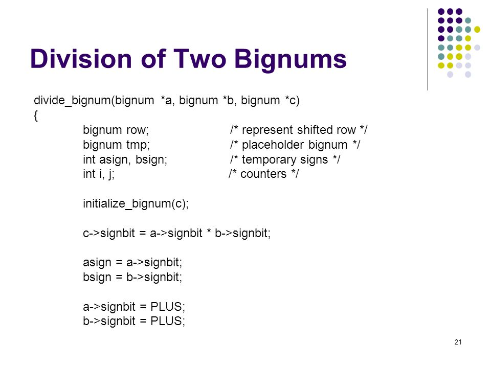 Division of Two Bignums