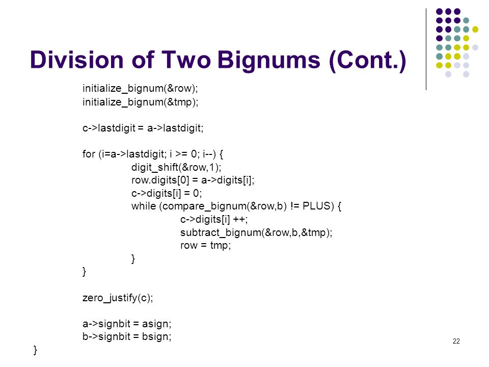 Division of Two Bignums (Cont.)