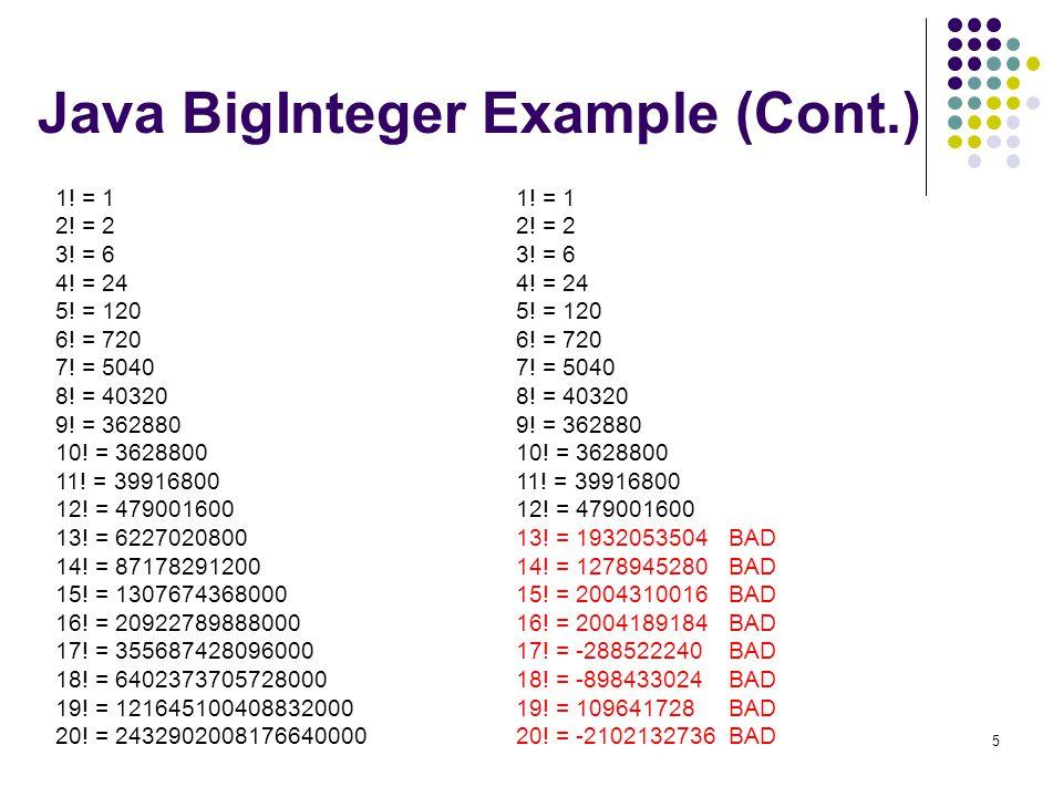 Java BigInteger Example (Cont.)