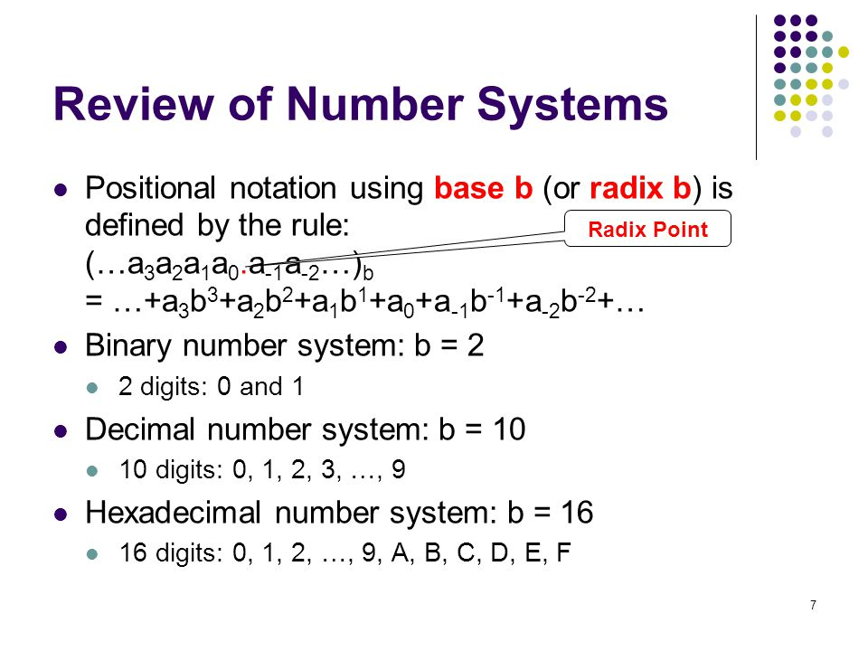 Review of Number Systems