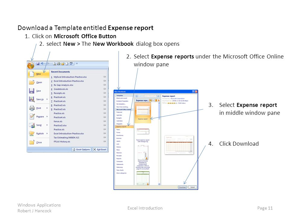 Download a Template entitled Expense report