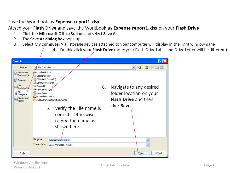 Save the Workbook as Expense report1.xlsx