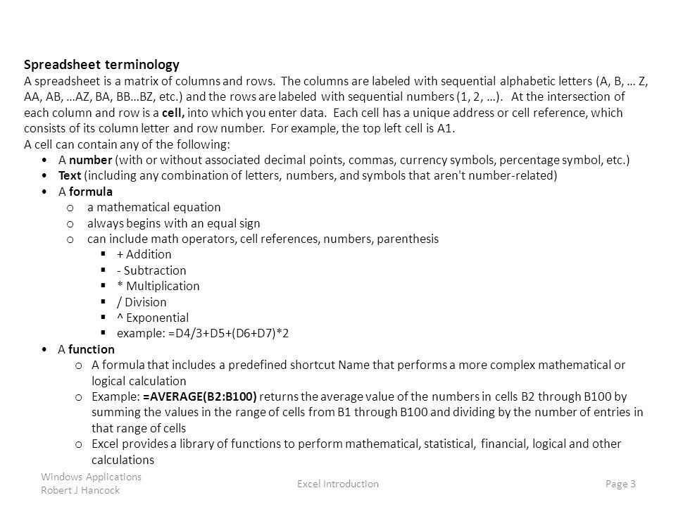 Spreadsheet terminology