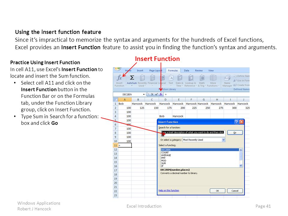 Insert Function Using the insert function feature