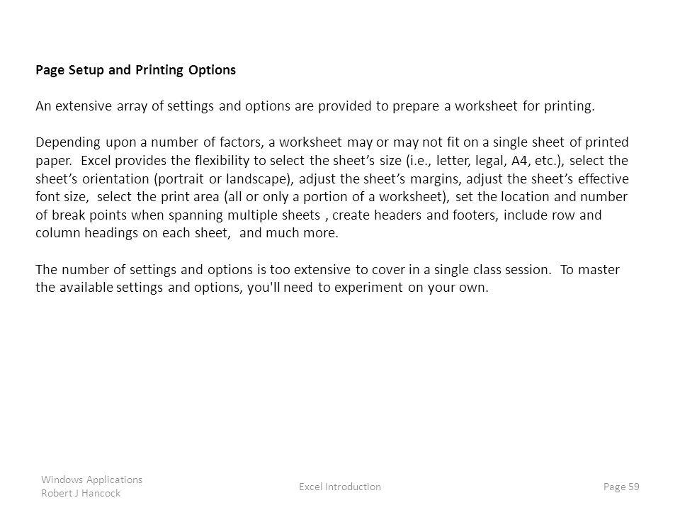 Page Setup and Printing Options