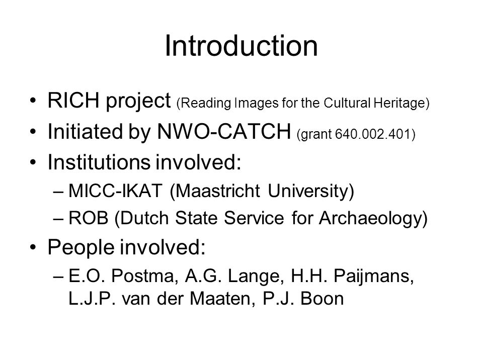 Introduction RICH project (Reading Images for the Cultural Heritage)