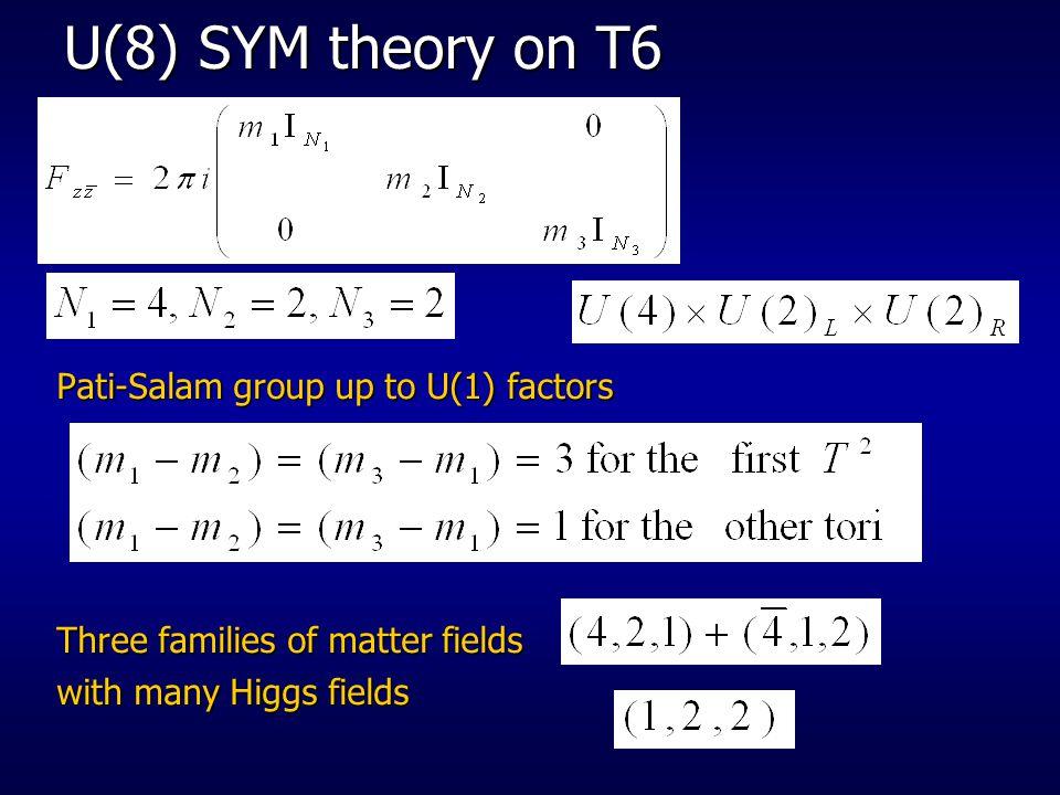 U(8) SYM theory on T6 Pati-Salam group up to U(1) factors