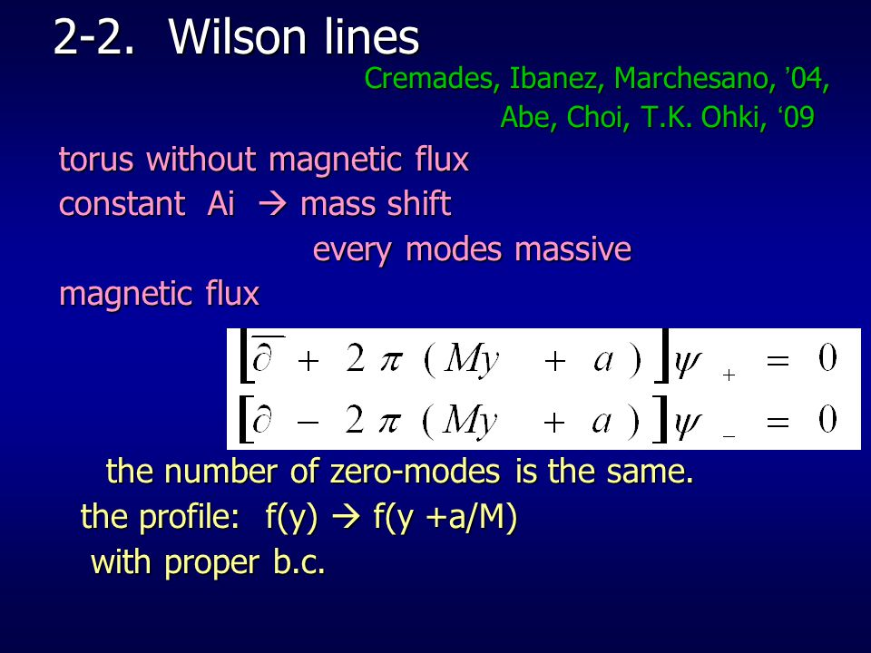 2-2. Wilson lines torus without magnetic flux constant Ai  mass shift
