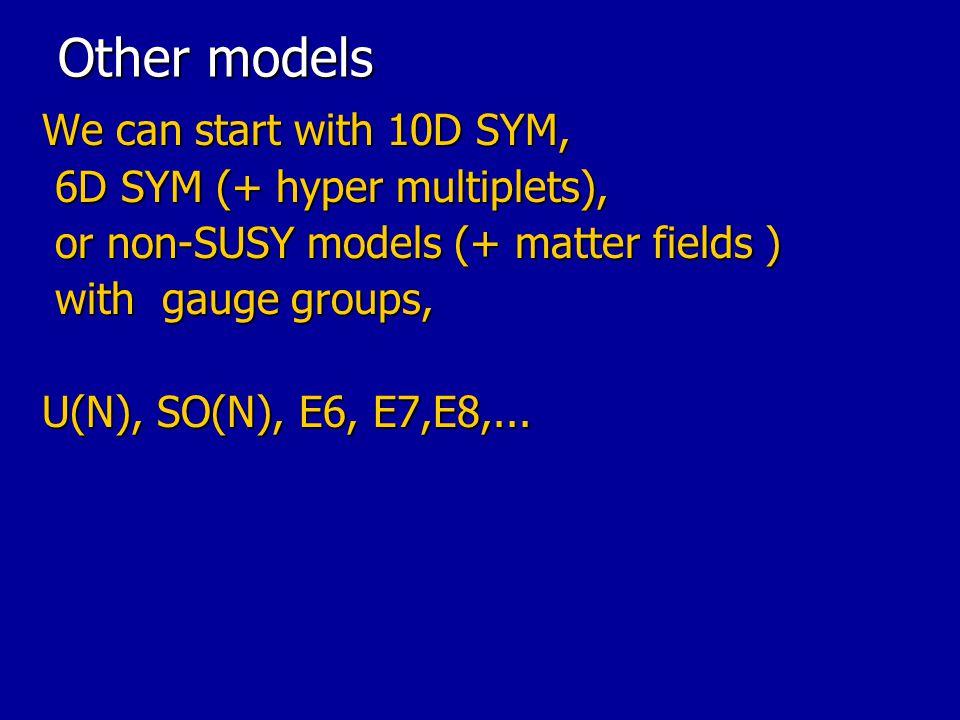 Other models We can start with 10D SYM, 6D SYM (+ hyper multiplets),