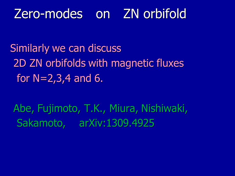 Zero-modes on ZN orbifold