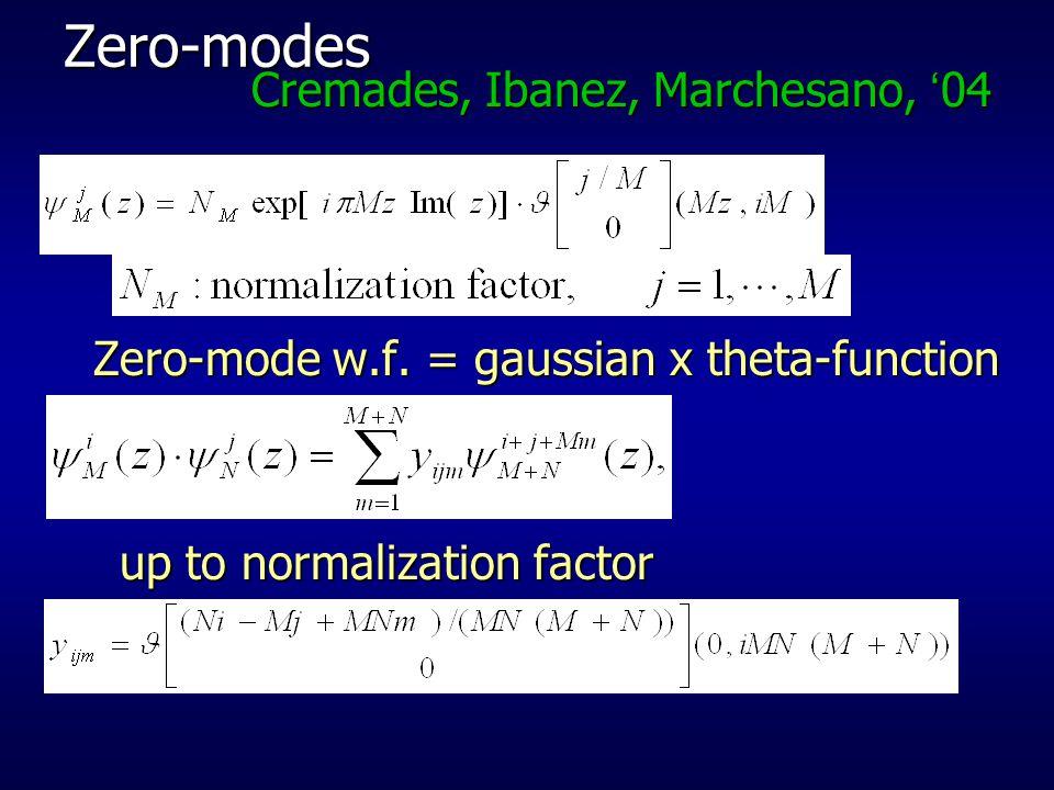 Zero-modes Cremades, Ibanez, Marchesano, '04 Zero-mode w.f.