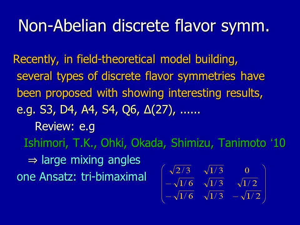 Non-Abelian discrete flavor symm.