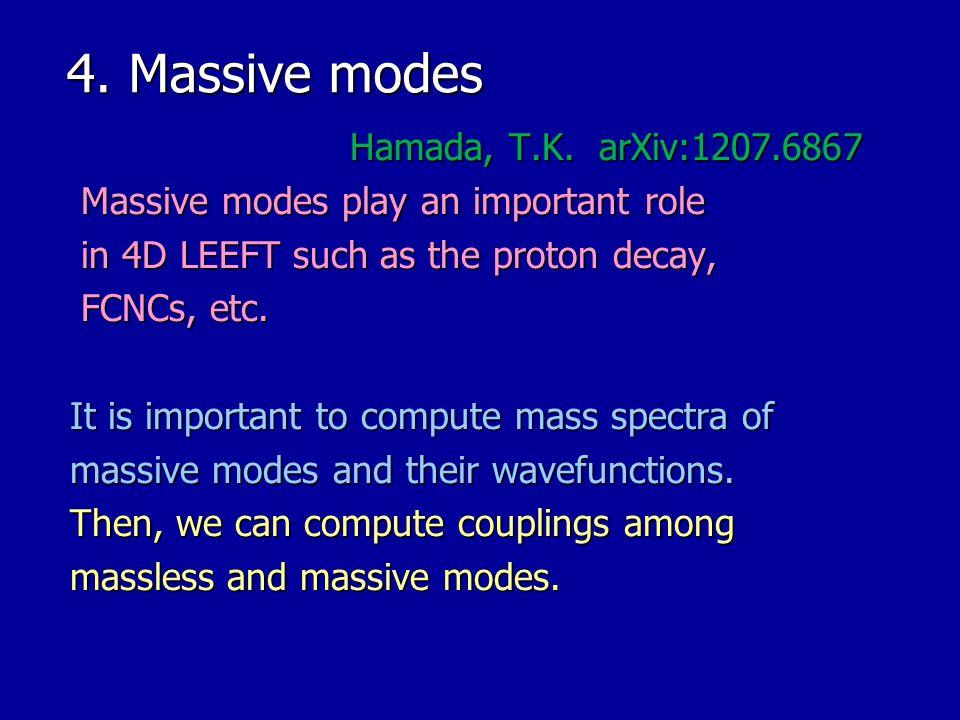 4. Massive modes Hamada, T.K. arXiv:1207.6867