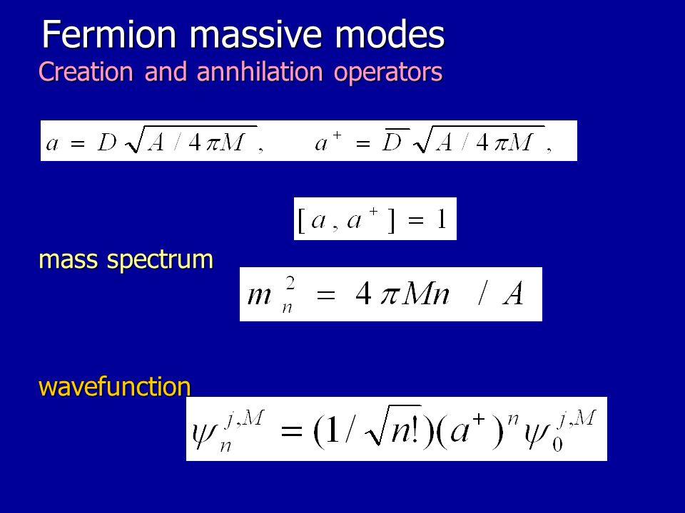 Fermion massive modes Creation and annhilation operators mass spectrum wavefunction