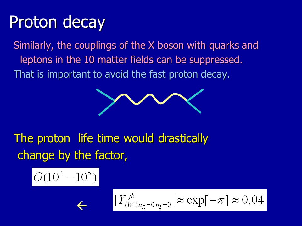 Proton decay The proton life time would drastically