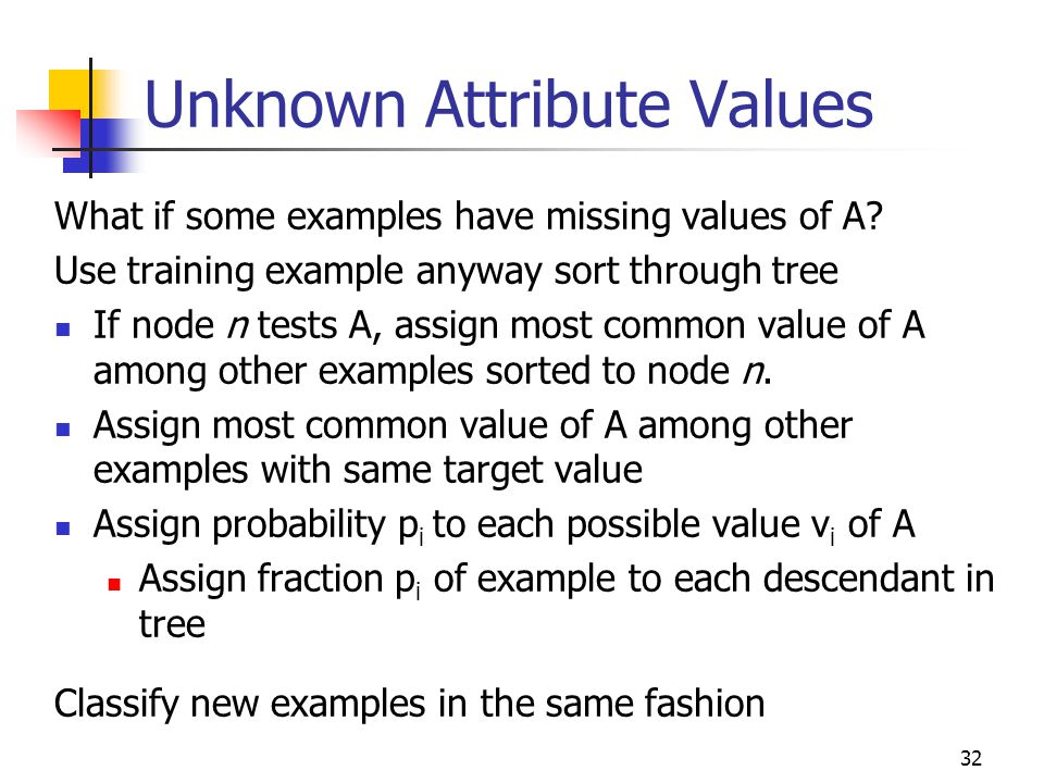 Unknown Attribute Values