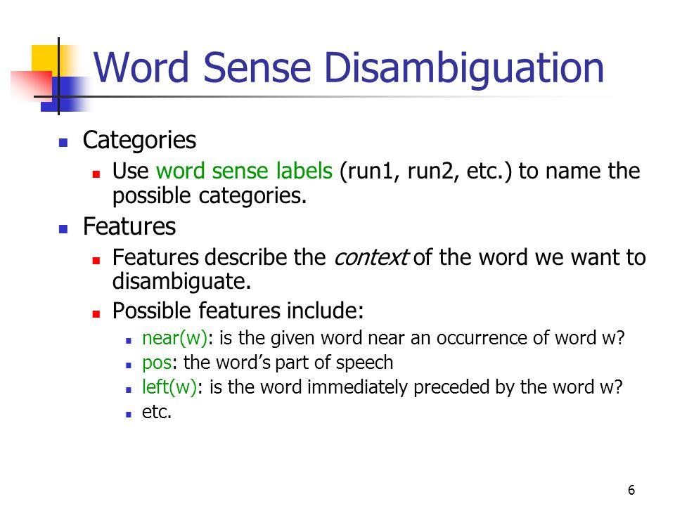 Word Sense Disambiguation