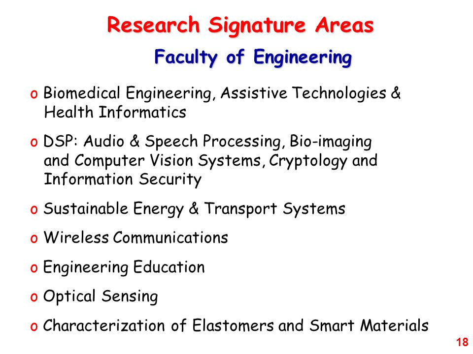 Research Signature Areas Faculty of Engineering