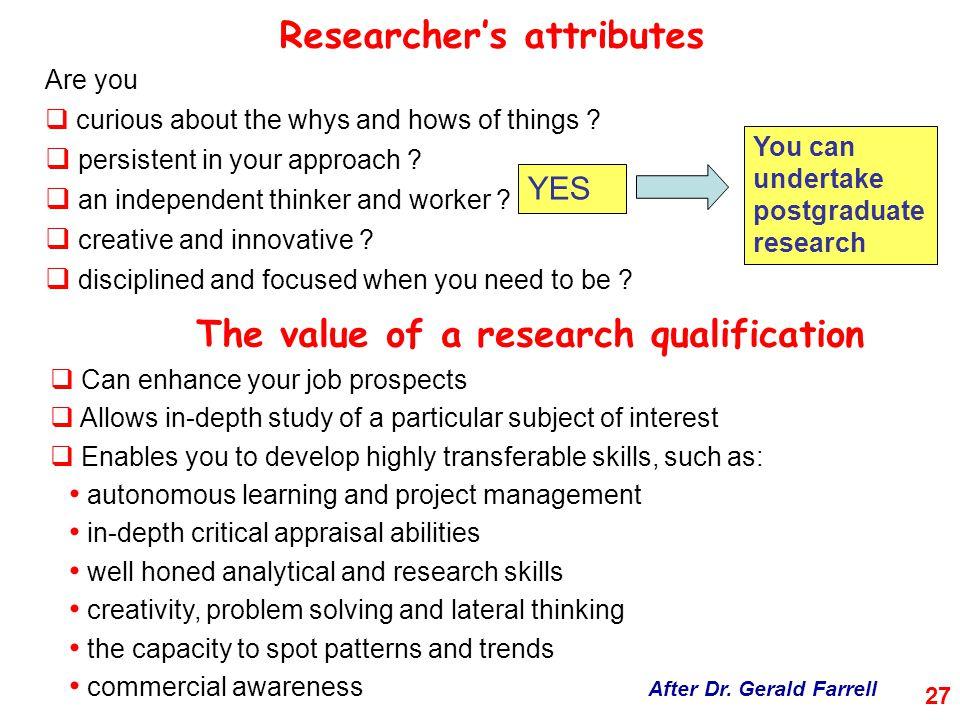 Researcher's attributes