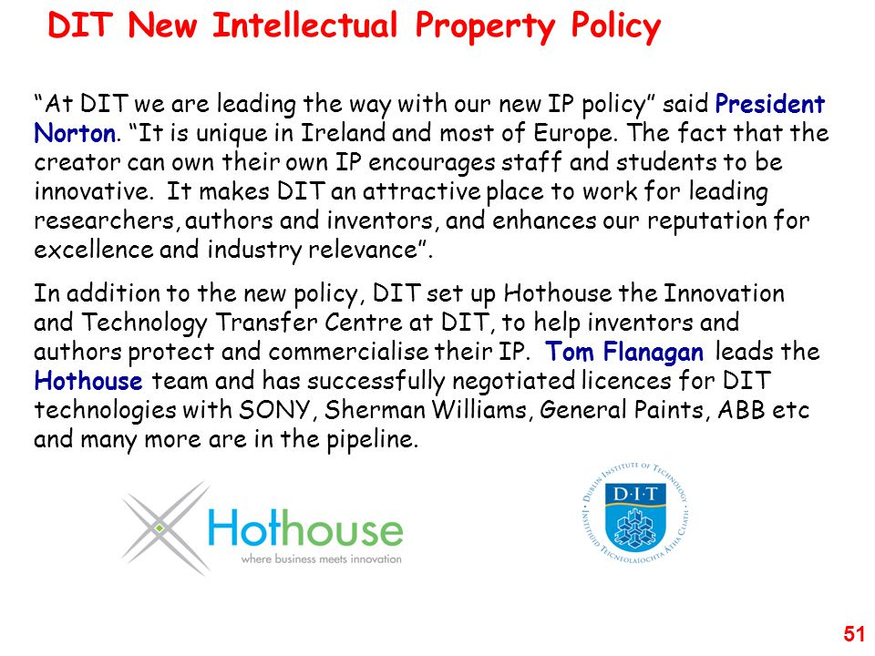 DIT New Intellectual Property Policy