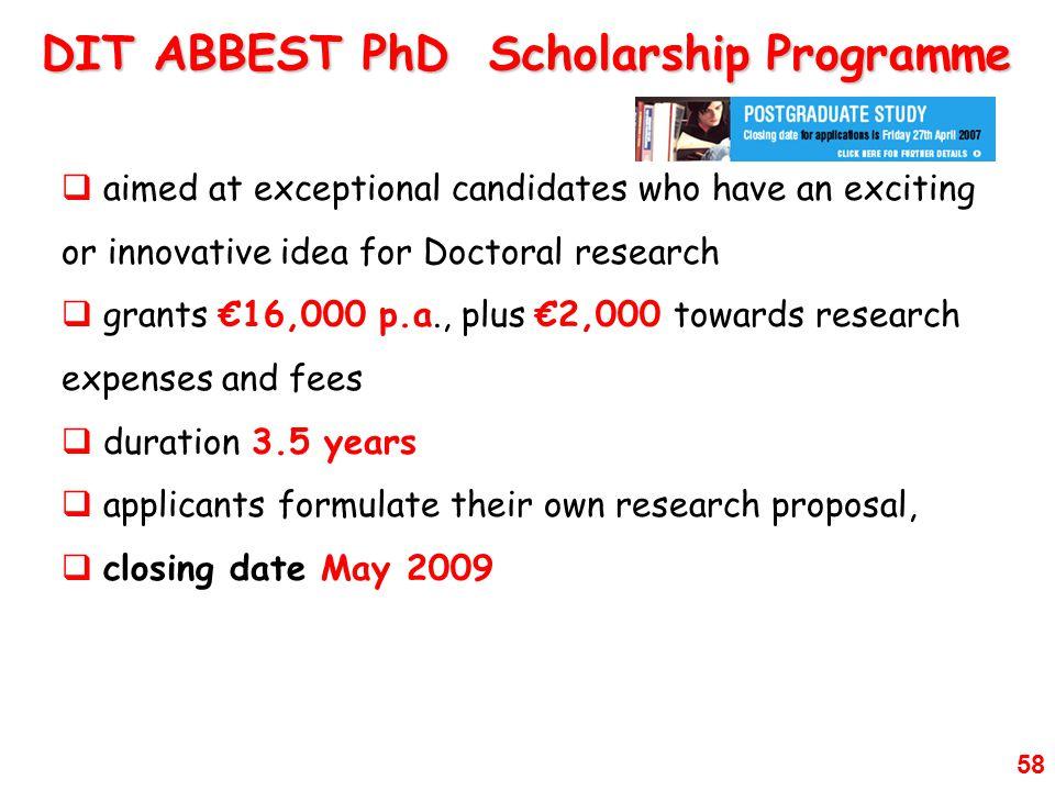DIT ABBEST PhD Scholarship Programme