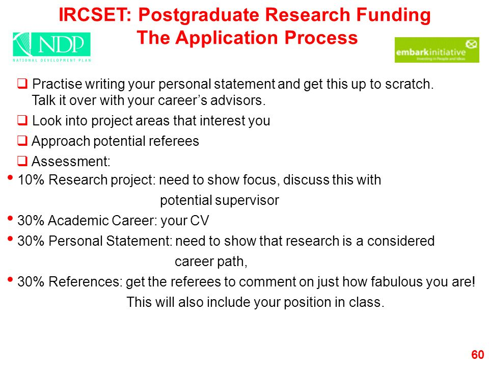 IRCSET: Postgraduate Research Funding The Application Process