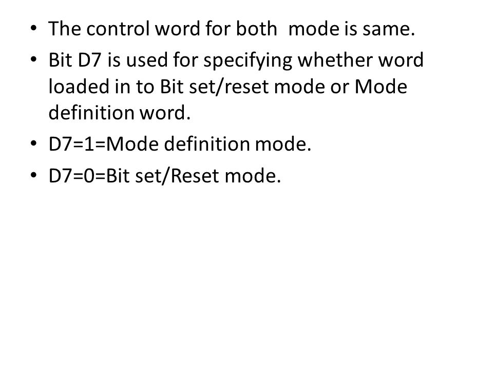 The control word for both mode is same.