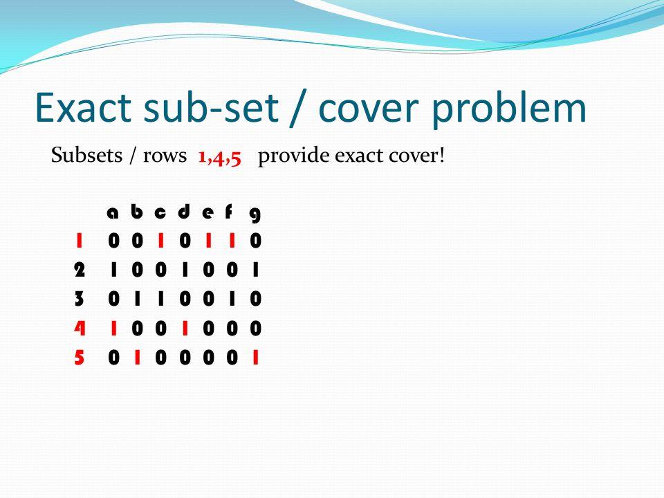 Exact sub-set / cover problem