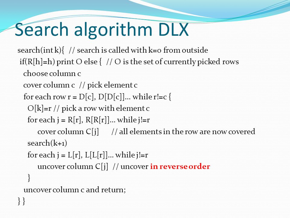 Search algorithm DLX