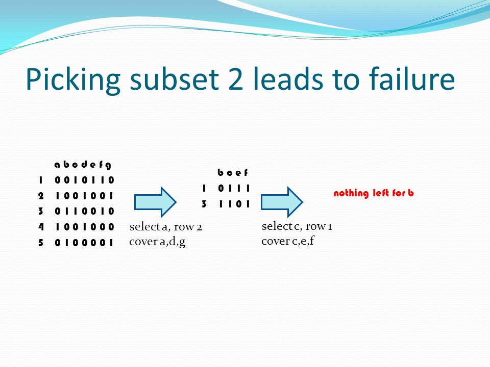 Picking subset 2 leads to failure