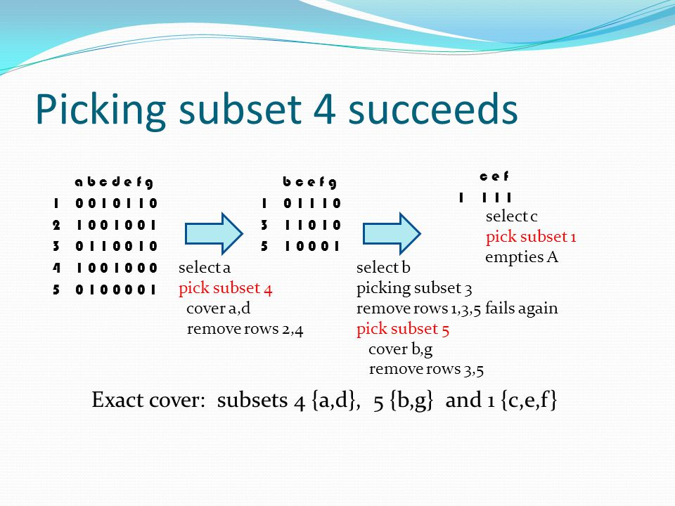 Picking subset 4 succeeds