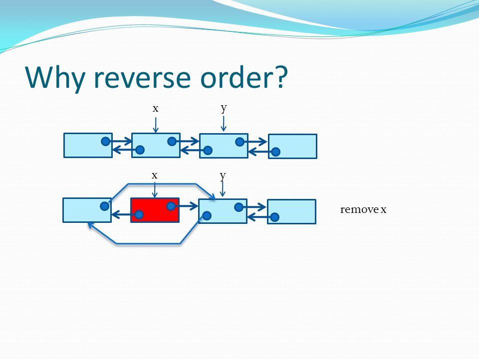 Why reverse order x y x y remove x