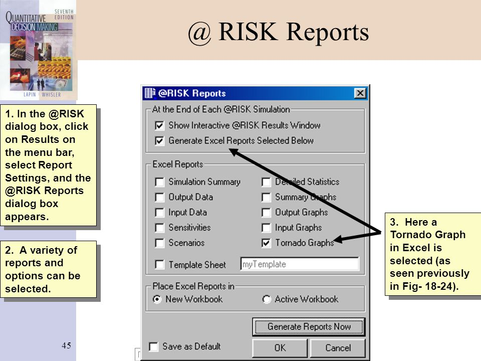 @ RISK Reports 1. In the @RISK dialog box, click on Results on the menu bar, select Report Settings, and the @RISK Reports dialog box appears.