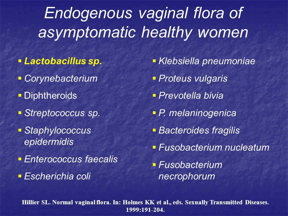 Endogenous vaginal flora of asymptomatic healthy women