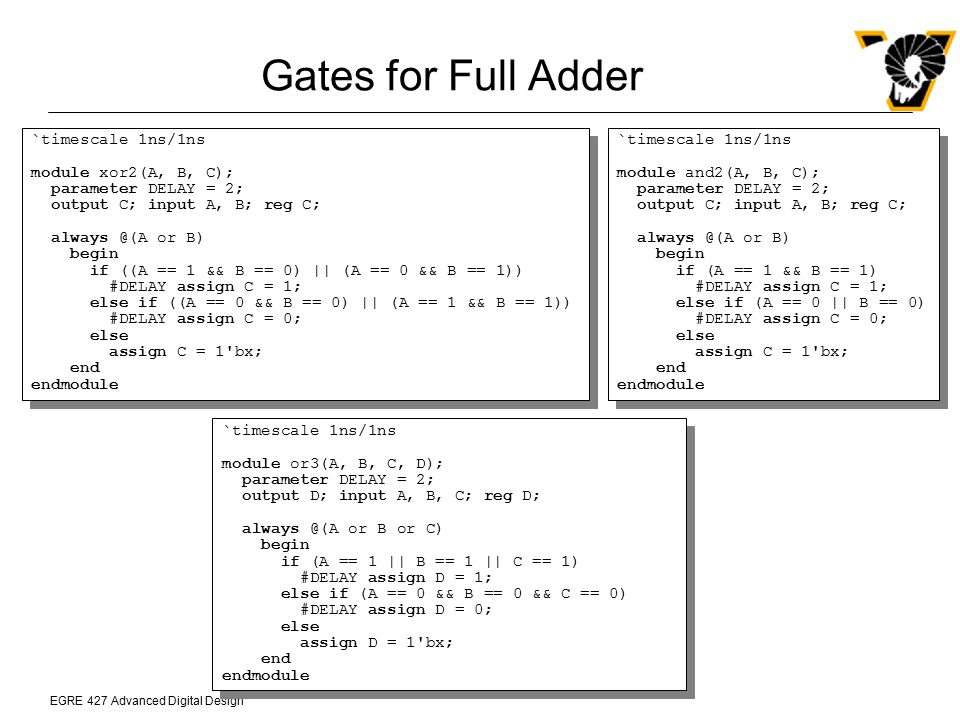 Gates for Full Adder `timescale 1ns/1ns module xor2(A, B, C);