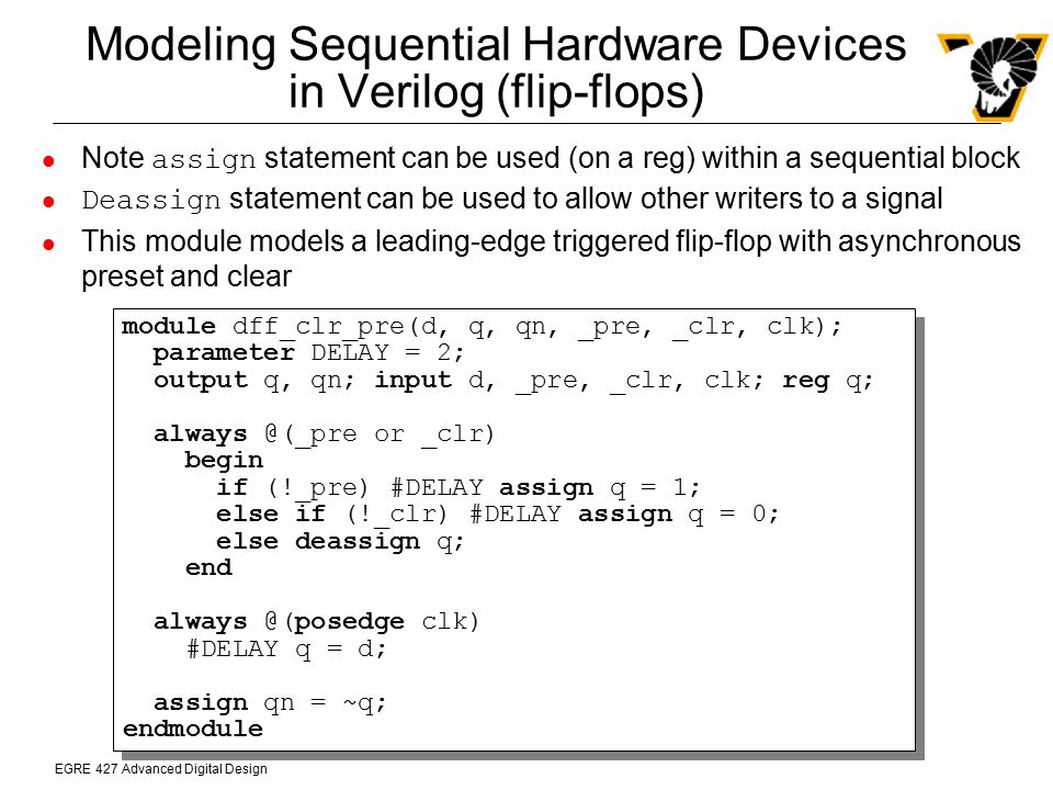Modeling Sequential Hardware Devices in Verilog (flip-flops)