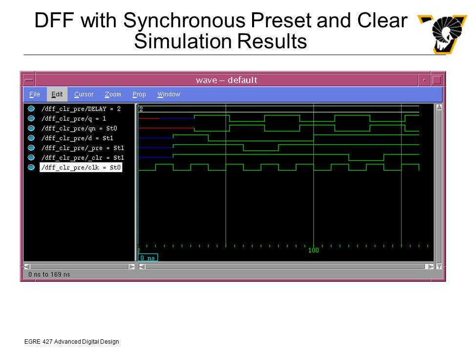 DFF with Synchronous Preset and Clear Simulation Results