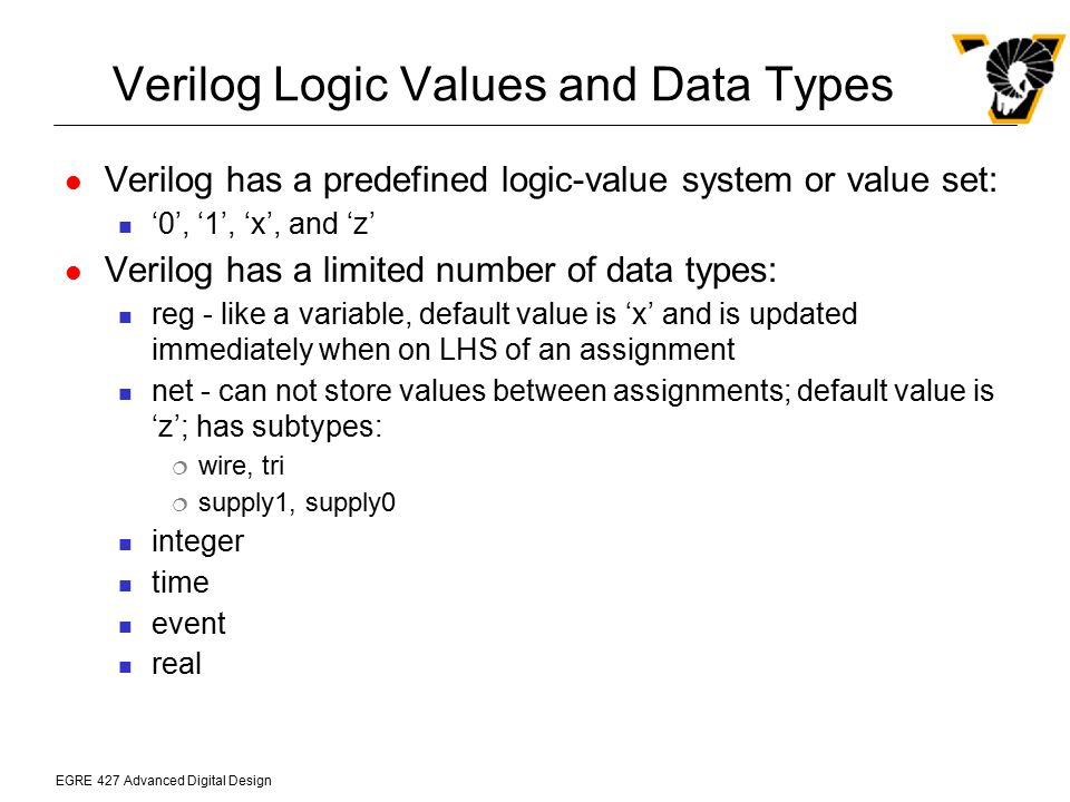 Verilog Logic Values and Data Types