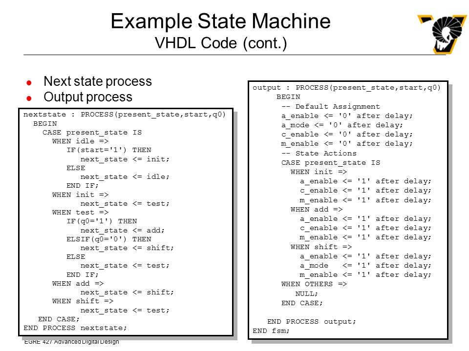 Example State Machine VHDL Code (cont.)