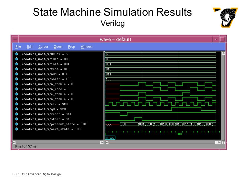 State Machine Simulation Results Verilog