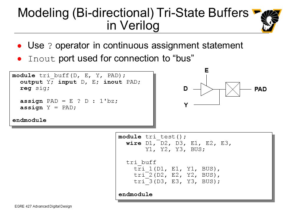 Modeling (Bi-directional) Tri-State Buffers in Verilog